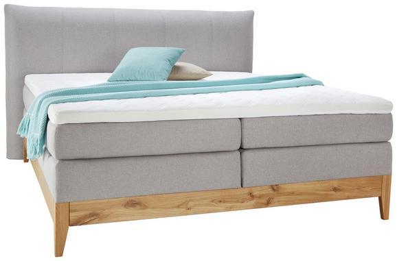 Boxspringbett Eiche Massiv 180x200cm - Eichefarben/Grau, KONVENTIONELL, Holz/Textil (220/210/119cm) - Premium Living