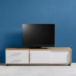 TV-Element in Eichefarben/Weiß 'Lilja' - Eichefarben/Weiß, MODERN, Holz/Metall (160/40/40cm) - Bessagi Home