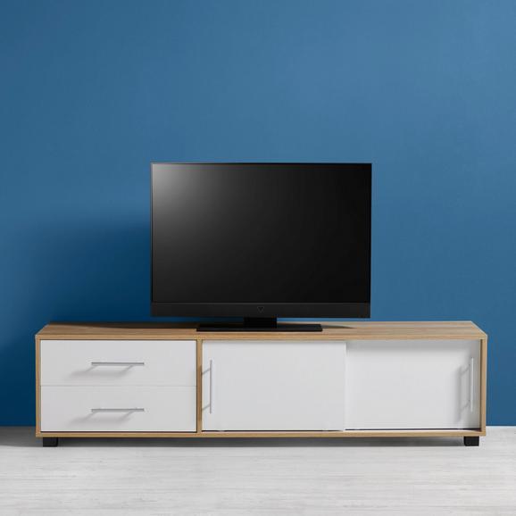 TV-Möbel Lilja - Eichefarben/Weiß, MODERN, Holz/Metall (160/40/40cm) - Bessagi Home