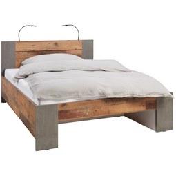Bett in Braun ca. 140x200cm - Dunkelgrau/Braun, MODERN, Holzwerkstoff/Kunststoff (140/200cm) - Premium Living