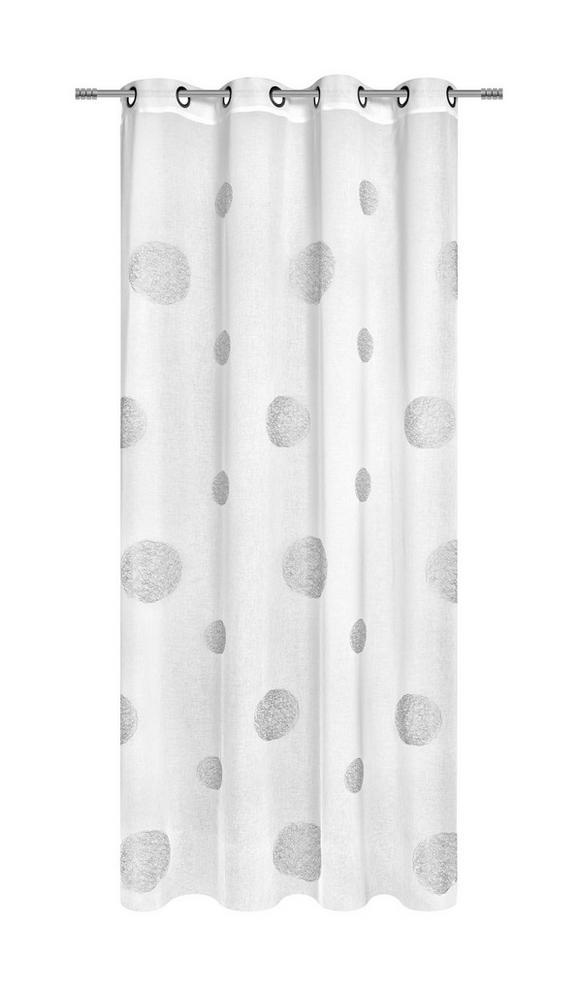 Zavesa Z Obročki Circle - bela, Moderno, tekstil (140/245cm) - Premium Living