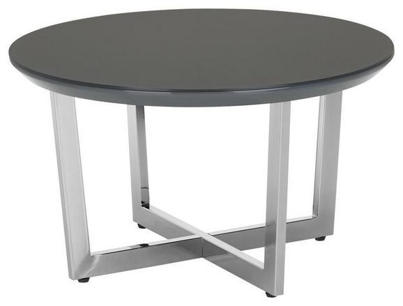 Couchtisch Grau Hochglanz - Chromfarben/Grau, MODERN, Glas/Holzwerkstoff (70/40cm) - Modern Living