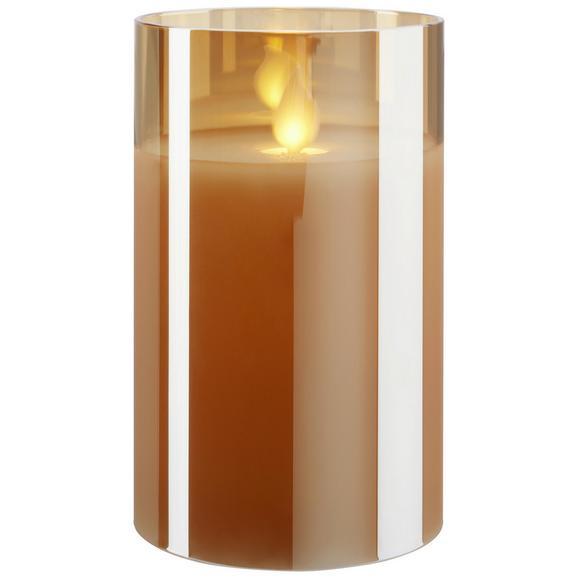 Windlicht Mira in Weiß/champagner - Champagner/Weiß, Glas/Kunststoff (7,5/12,5cm) - Mömax modern living