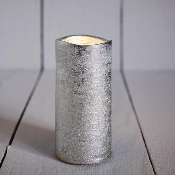 Led-kerze Loa - Silberfarben, MODERN, Weitere Naturmaterialien (15cm)