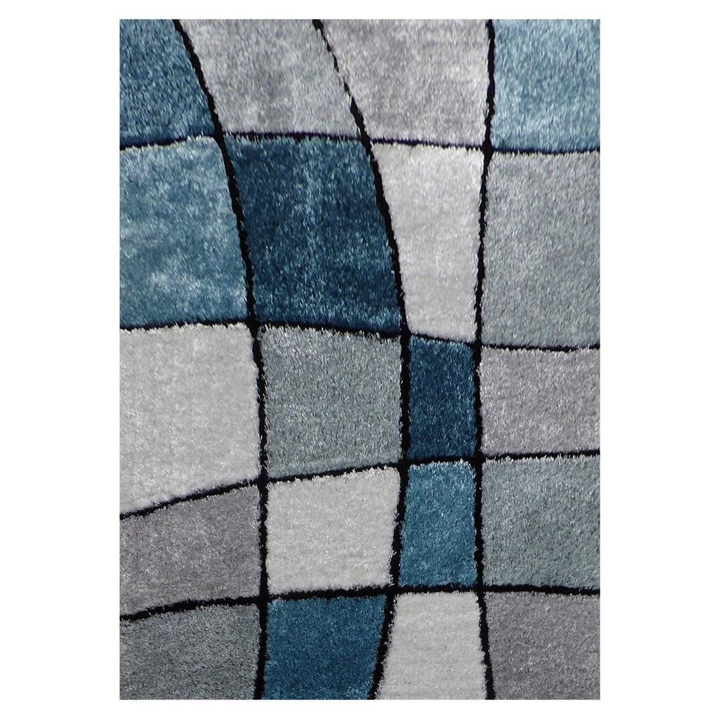 Hochflorteppich Fany Blau/Weiß 120x170cm