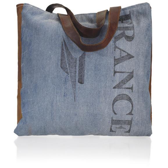 Handtasche France ca.40x46cm - Blau/Schwarz, Textil (40/46cm) - Bessagi Home
