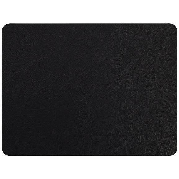 Tischset Jette aus Leder in Schwarz - Schwarz, Leder (33/42cm) - Premium Living