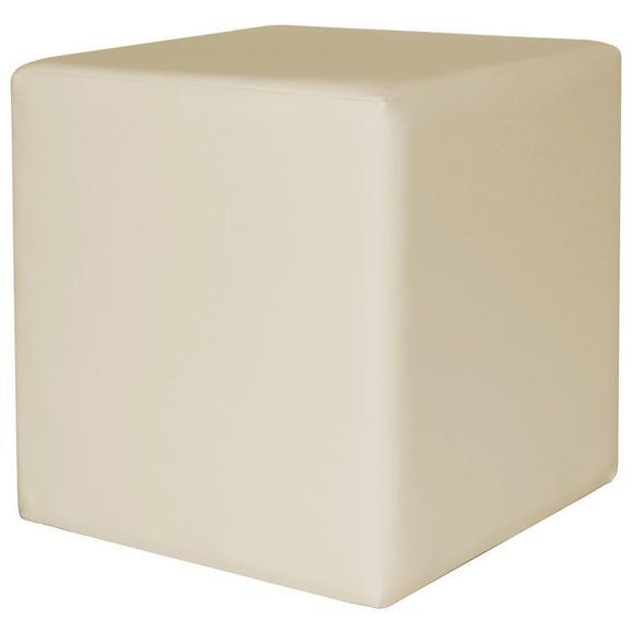 Taburet Colorfull Cube - crem, Modern, textil (40/40/42cm)