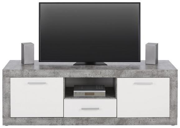 Lowboard Weiß/Hellgrau - Hellgrau/Alufarben, MODERN, Holzwerkstoff/Kunststoff (148/50/41cm)