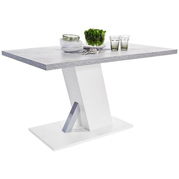 Étkezőasztal Severin 138 - Szürke/Fehér, modern, Faalapú anyag (138/76/90cm)