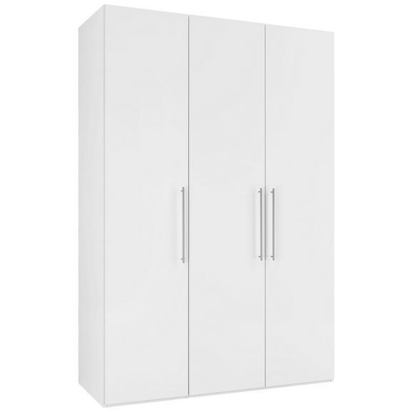 Drehtürenschrank in Weiß Hochglanz - Chromfarben/Weiß, KONVENTIONELL, Holzwerkstoff/Metall (147/219/60cm) - Modern Living