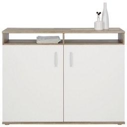 Kommode in Braun/Weiß - Silberfarben/Weiß, MODERN, Holzwerkstoff/Kunststoff (115/90/37cm)