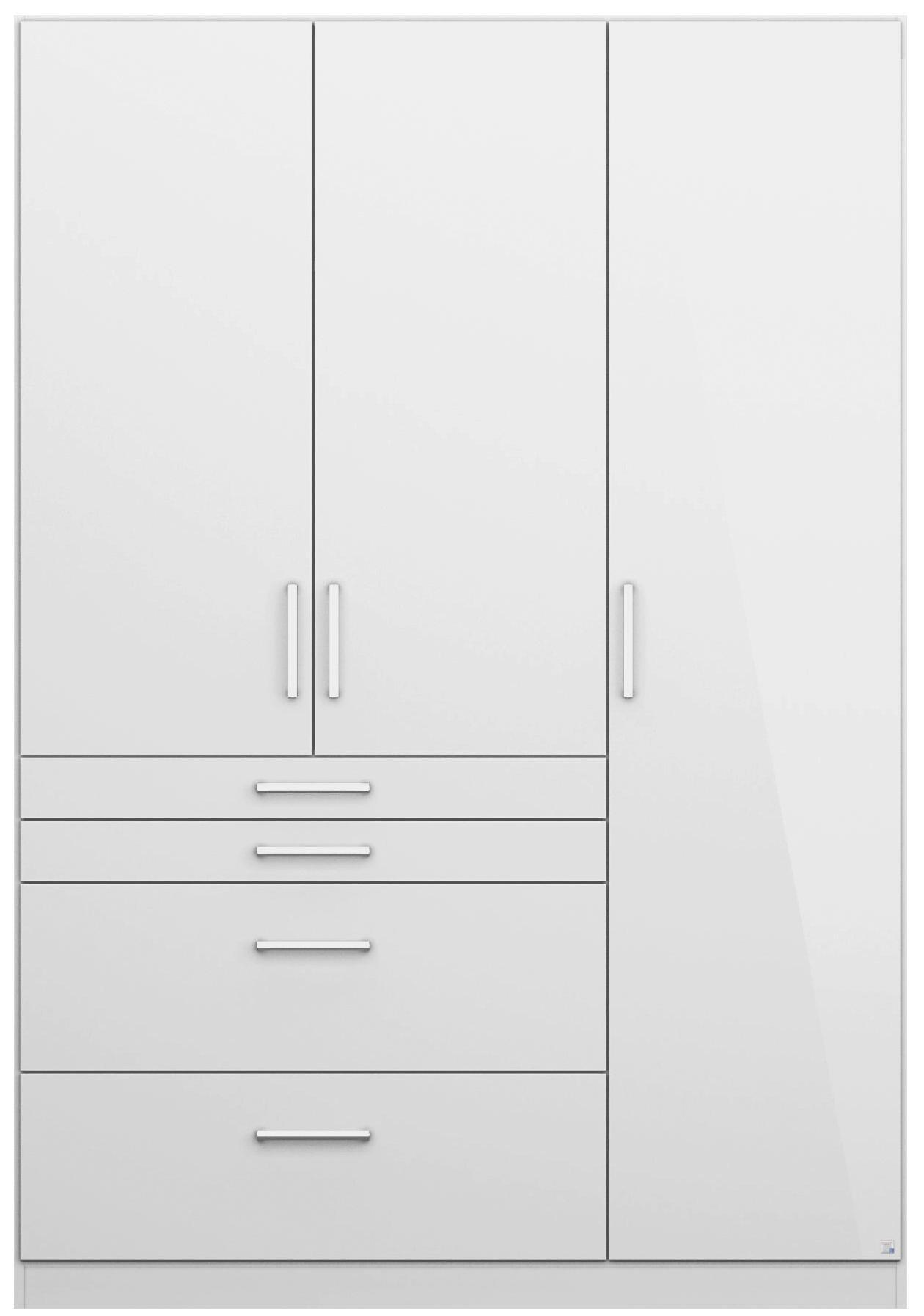 Drehtürenschrank in Weiß Hochglanz mit 3 Türen - Alufarben, MODERN, Holzwerkstoff/Kunststoff (136/197/54cm) - MODERN LIVING