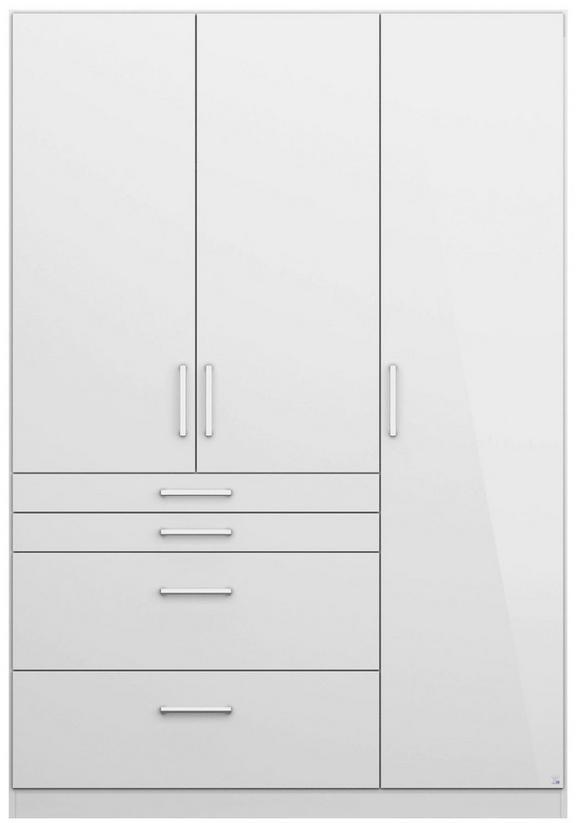 Drehtürenschrank Weiß Hochglanz - Alufarben, MODERN, Holzwerkstoff/Kunststoff (136/197/54cm) - Modern Living