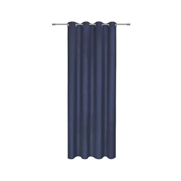 Perdea Cu Inele Tip Capsă Ulli - Albastru închis, textil (140/245cm) - Mömax modern living