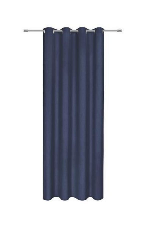 Zavesa Z Obročki Ulli -ext- -eö- - temno modra, tekstil (140/245cm) - MÖMAX modern living