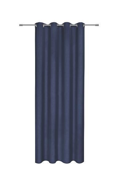 Zavesa Z Obročki Ulli -ext- - temno modra, tekstil (140/245cm) - MÖMAX modern living