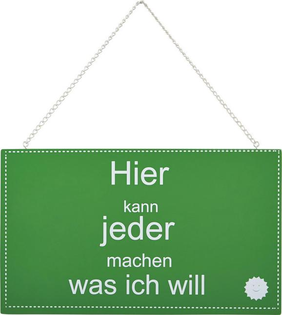 Dekoschild Reimi in Grün/Weiß - Weiß/Grün, Holzwerkstoff/Metall (23,2/13,5/0,5cm) - Mömax modern living