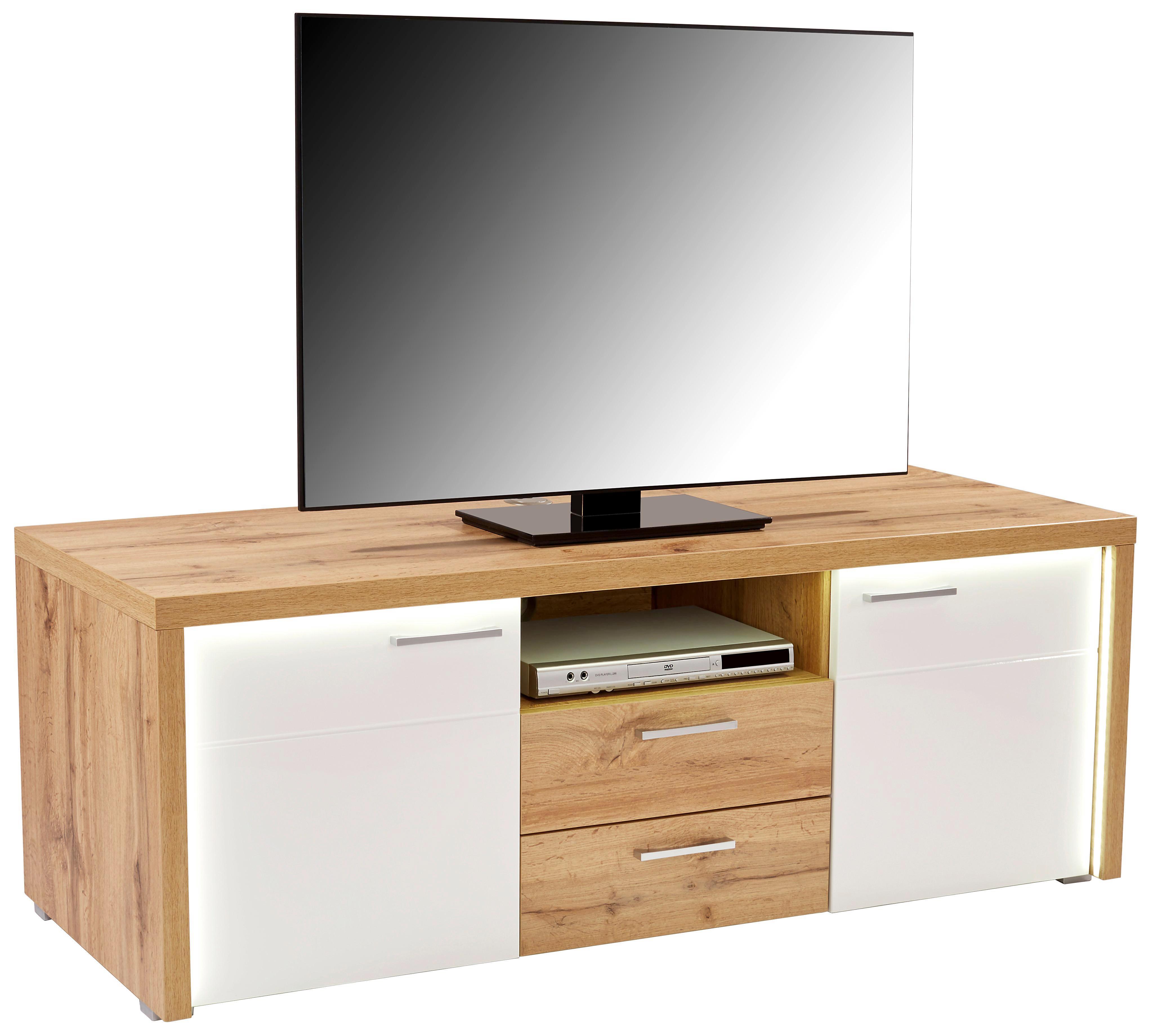 Tv - Elem Eleganza - tölgy színű/fehér, modern, faanyagok (160,5/54/49,5cm)