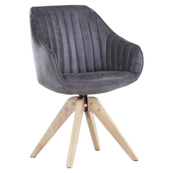 Stol Chill - temno siva/hrast, tekstil/les (60/83/50/65cm) - Modern Living