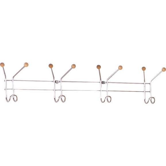 Cuier Perete Cu Cârlige Karl - Crom, lemn/metal (60/12/5cm) - Boxxx
