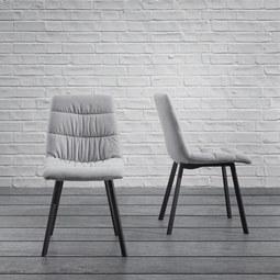 Stuhl Mario - Hellgrau, MODERN, Textil/Metall (47/88/59,5cm) - Modern Living