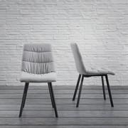 Stuhl Mario - Hellgrau/Schwarz, MODERN, Holz/Textil (47/88/59,5cm) - Modern Living