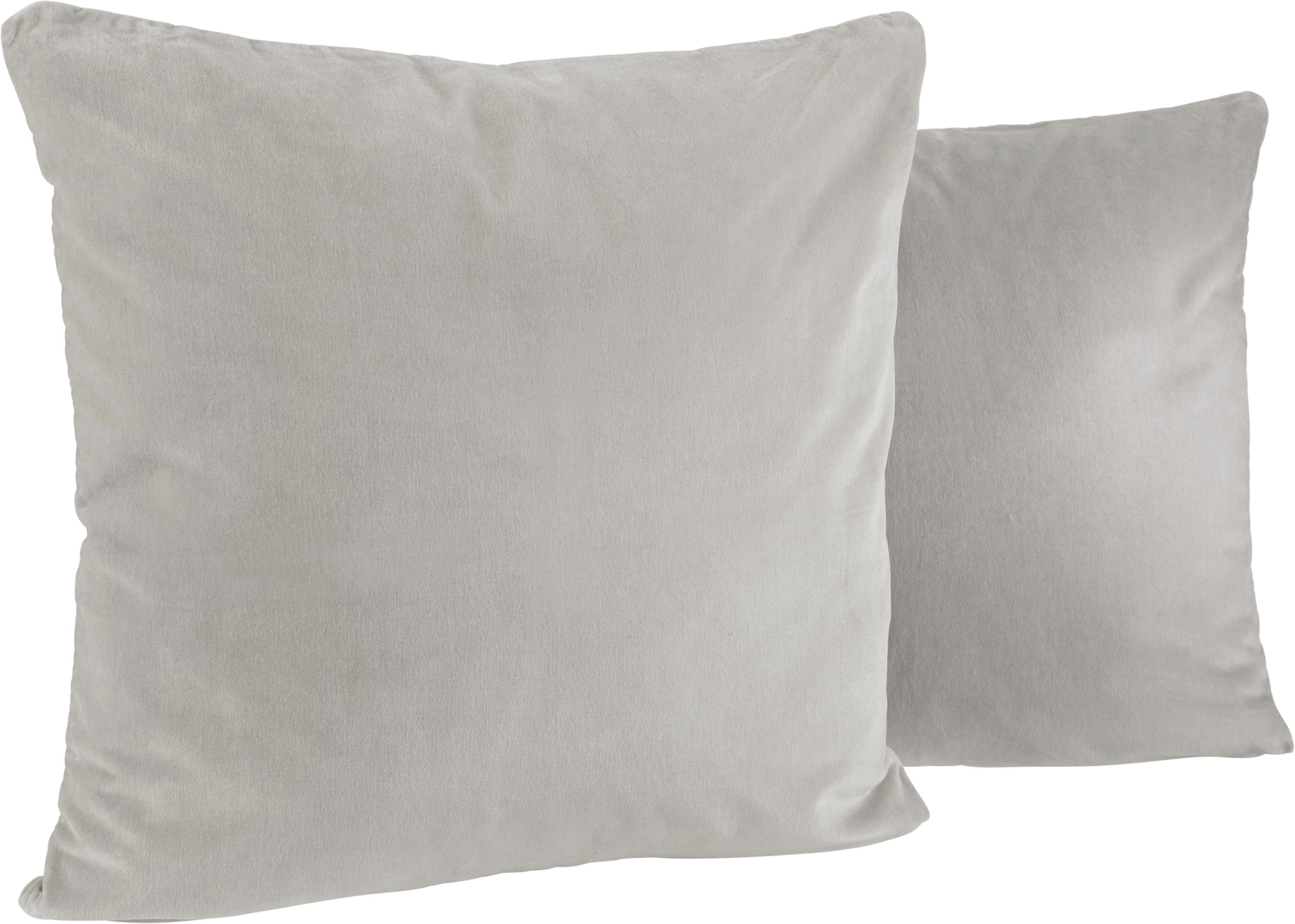 Samt Zierkissen Sonja 50x50cm - Hellgrau, KONVENTIONELL, Textil (50/50cm) - MÖMAX modern living