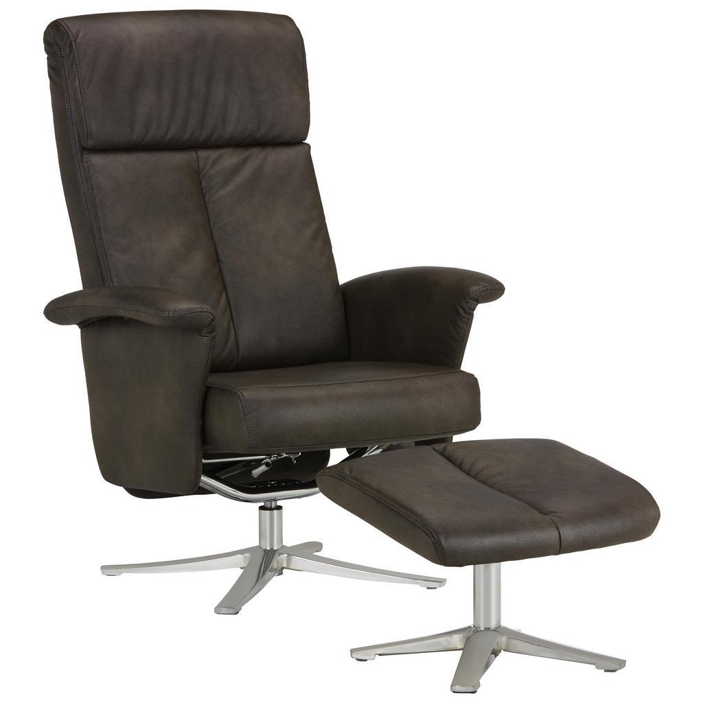 Relaxsessel in Grau mit Hocker
