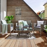 Lounge Garnitura Jamaika - siva/črna, kovina/umetna masa - Modern Living