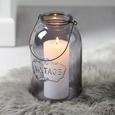 Windlicht Vintage Ø/H ca. 14,3/24 cm - Hellgrau, MODERN, Glas (14,3/24cm) - Bessagi Home