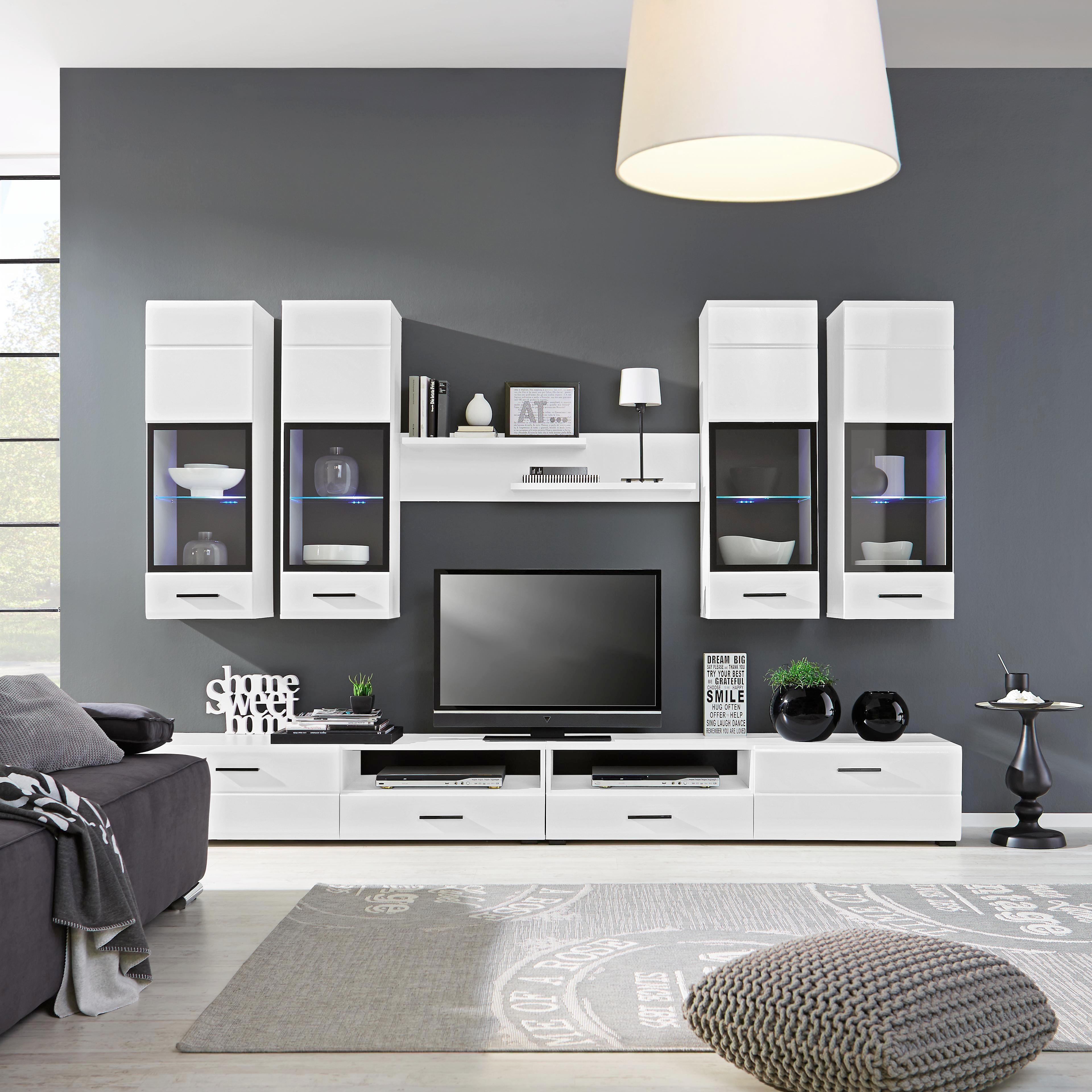 GroBartig Wohnwand Weiß   Schwarz/Weiß, MODERN, Glas/Holz (280/195