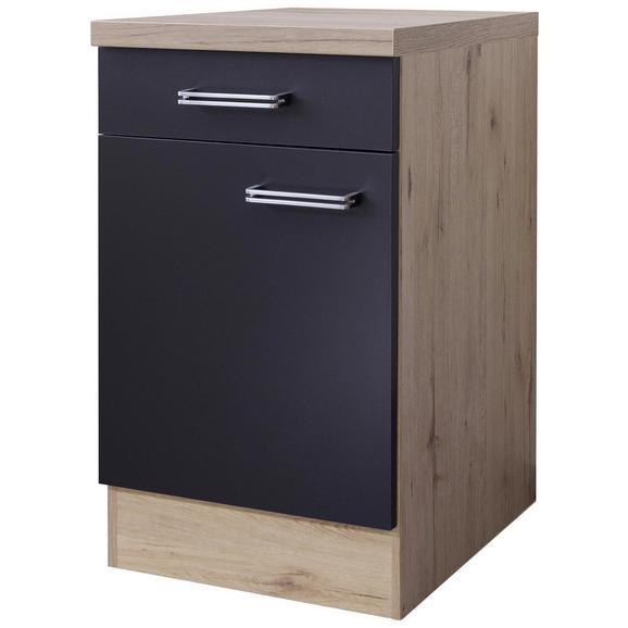 Küchenunterschrank Anthrazit/Eiche - Edelstahlfarben/Eichefarben, MODERN, Holzwerkstoff/Metall (50/86/60cm)