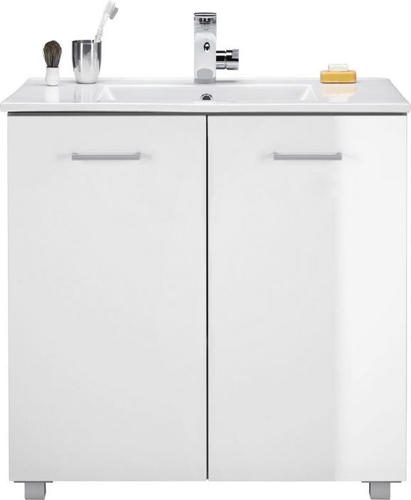 Waschtischkombi Weiß Hochglanz - Silberfarben/Weiß, MODERN, Keramik/Holzwerkstoff (83/84/47cm) - Mömax modern living