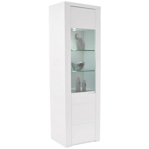 Vitrina Bree - bijela/siva, Modern, staklo/drvni materijal (65,8/202,8/37,7cm) - Modern Living