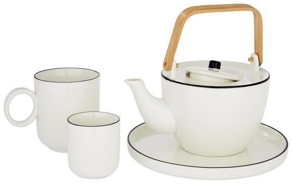 Teekanne Agnes aus Keramik ca. 900ml - Weiß, Holz/Keramik (8,6/17,6cm) - Premium Living