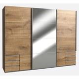 Kombischrank in Eichefarben mit Spiegel - Eichefarben/Alufarben, KONVENTIONELL, Holzwerkstoff/Metall (270/210/65cm) - Modern Living