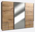 Kombischrank in Eichefarben mit Spiegel - Eichefarben/Alufarben, KONVENTIONELL, Holzwerkstoff/Metall (270 210 65cm) - Modern Living