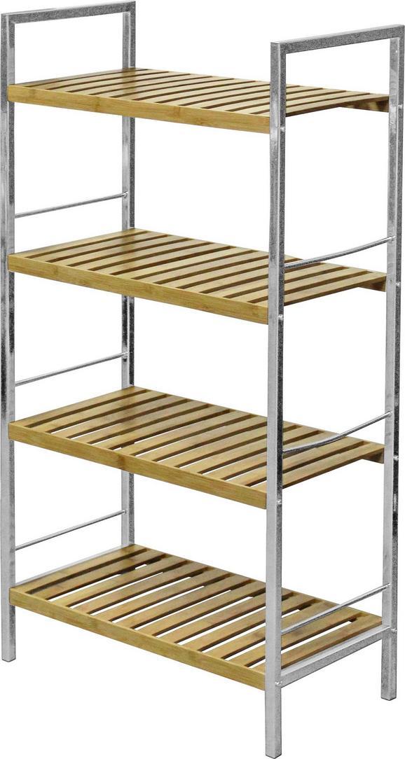 Regal Badi - krom/rjava, Moderno, kovina/leseni material (50/93/27cm) - Ombra
