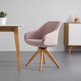 Armlehnstuhl in Rosa 'Leonie' - Eichefarben/Rosa, MODERN, Holz/Textil (60/84/61cm) - Bessagi Home