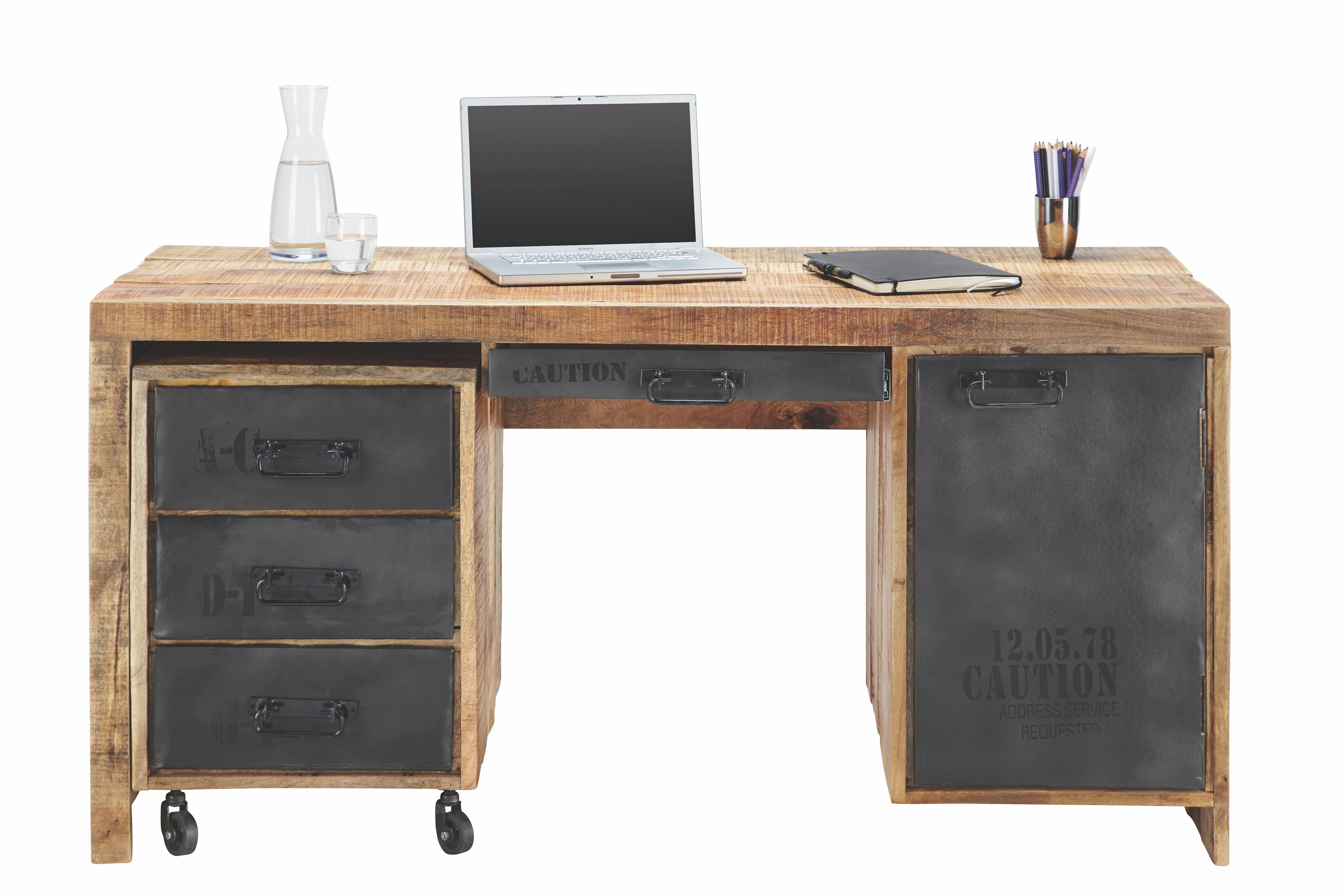 Schreibtisch In Mango Massiv - LIFESTYLE, Holz (150/76/62cm) - PREMIUM LIVING