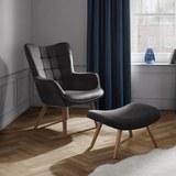 Sessel in Grau inkl. Hocker 'Merlin' - Dunkelgrau/Buchefarben, MODERN, Holz/Textil (71/98/80cm) - Bessagi Home