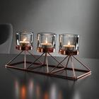 Kerzenhalter Hauke inkl. Gläser ca. 28,5/7,5cm - Kupferfarben, MODERN, Glas/Metall (28,5/10/7,5cm) - Mömax modern living