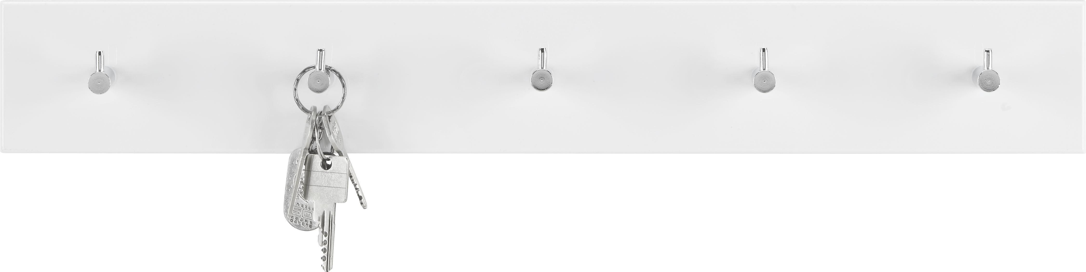 Wandgarderobe in Weiß Hochglanz - Chromfarben/Weiß, Holzwerkstoff/Metall (57/8/5cm) - MÖMAX modern living