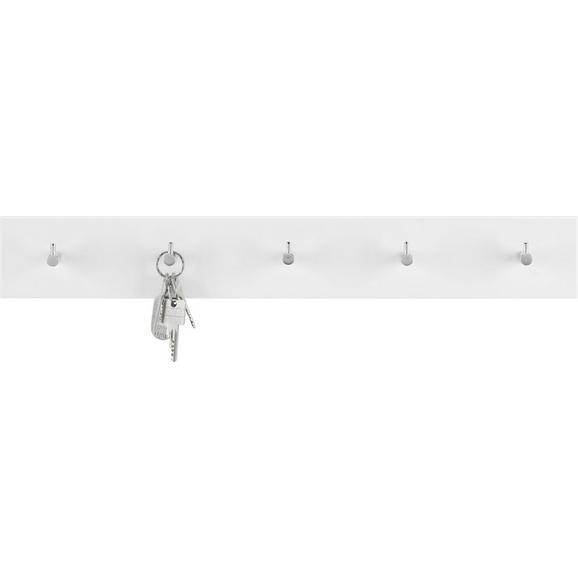 Wandgarderobe Weiß Hochglanz - Chromfarben/Weiß, Holzwerkstoff/Metall (57/8/5cm) - Mömax modern living