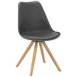 Stuhl In Schwarz/eiche   Eichefarben/Schwarz, MODERN, Holz/Kunststoff (