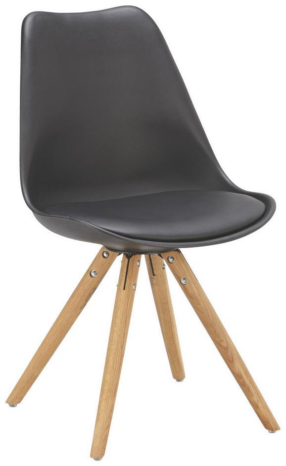 Szék Lilly - Tölgyfa/Fekete, modern, Műanyag/Fa (47/81/52cm)