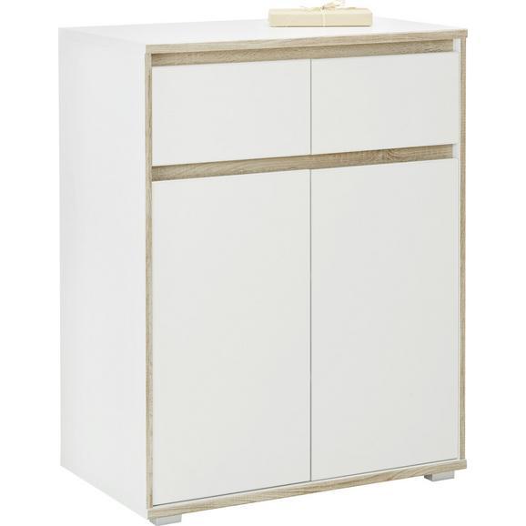 Comodă Pluto - stejar Sonoma/alb, Modern, compozit lemnos (80/103/48cm) - Modern Living