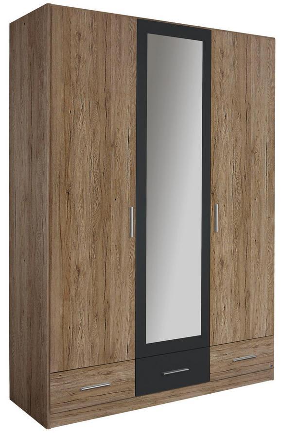Drehtürenschrank Eiche/Grau Metallic - Eichefarben/Grau, MODERN, Holz/Holzwerkstoff (136/197/54cm) - Modern Living