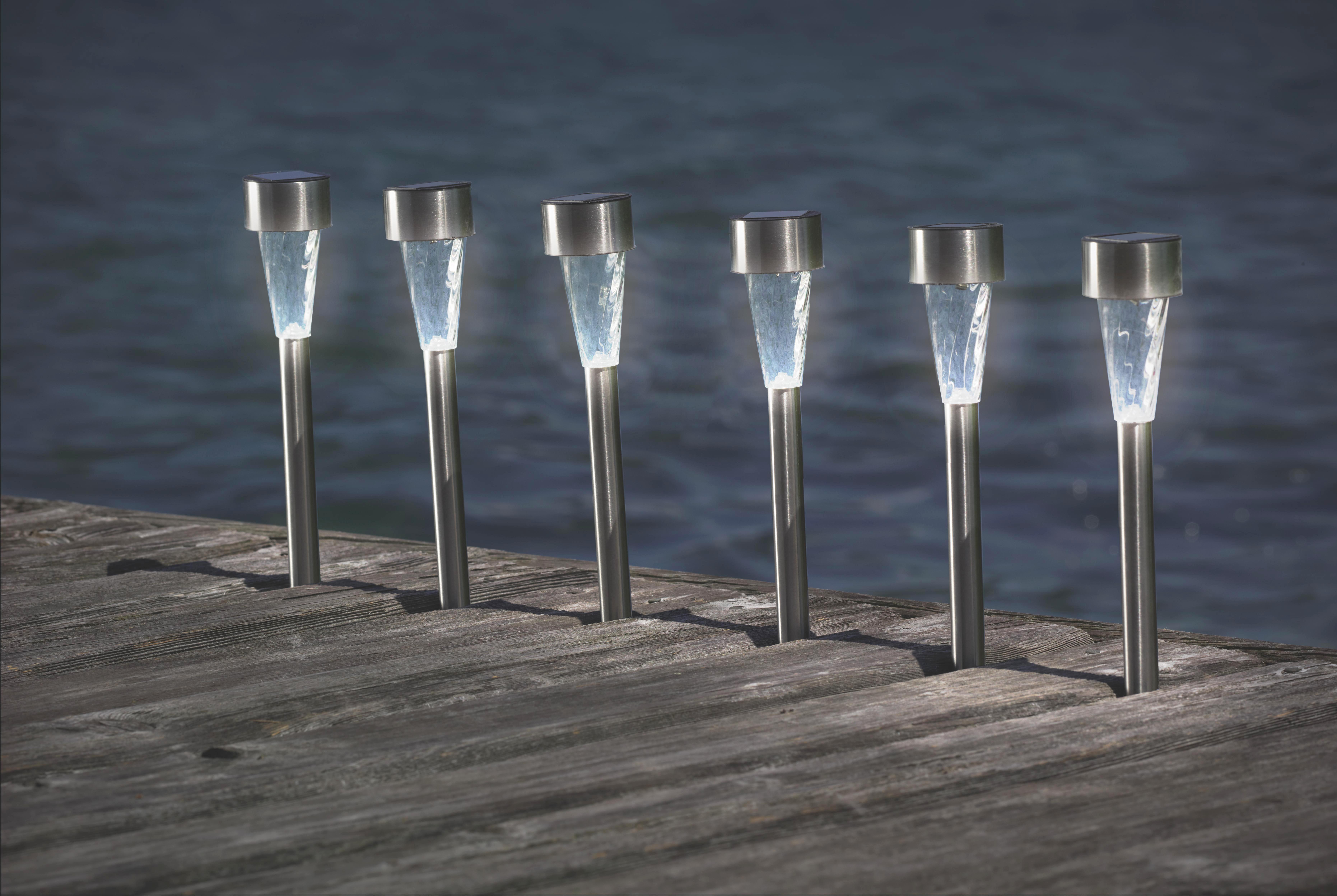 Solarleuchte Alois, max. 0,06 Watt - Klar/Edelstahlfarben, Kunststoff/Metall (4,7/4,7/35cm) - MÖMAX modern living